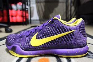 NEW Nike iD Kobe 10 X Elite Flyknit SZ 9.5 Purple/Yellow LA Lakers