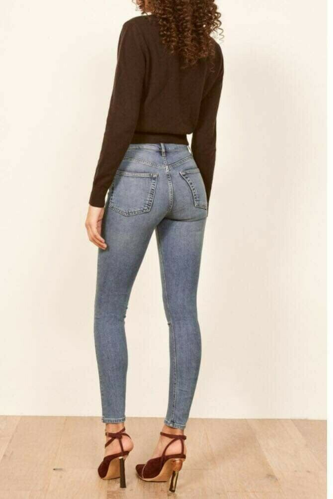 Femme Reformation Taille Haute Skinny Jeans Taille 29 Lumière Wash