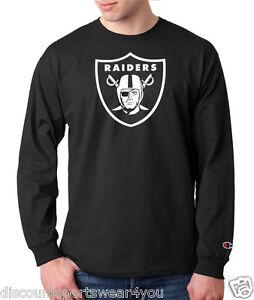 Oakland Raiders Logo Champion Long Sleeve T Shirt Mens Tee Adult New Black