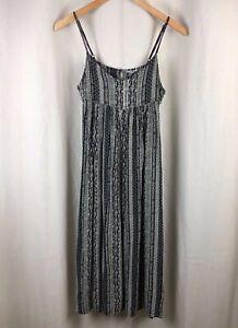 Anthropologie-Ecote-Black-amp-Cream-Stripe-Print-Sun-Dress-Small