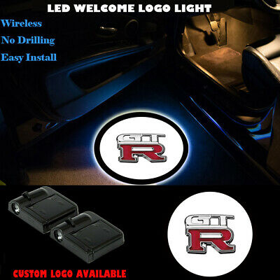 For Nissan GTR Car Door LED 2 Pack Logo Projector Welcome Lights Easy Installation Ghost Shadow Light Lamp Logos For GTR R34 R35