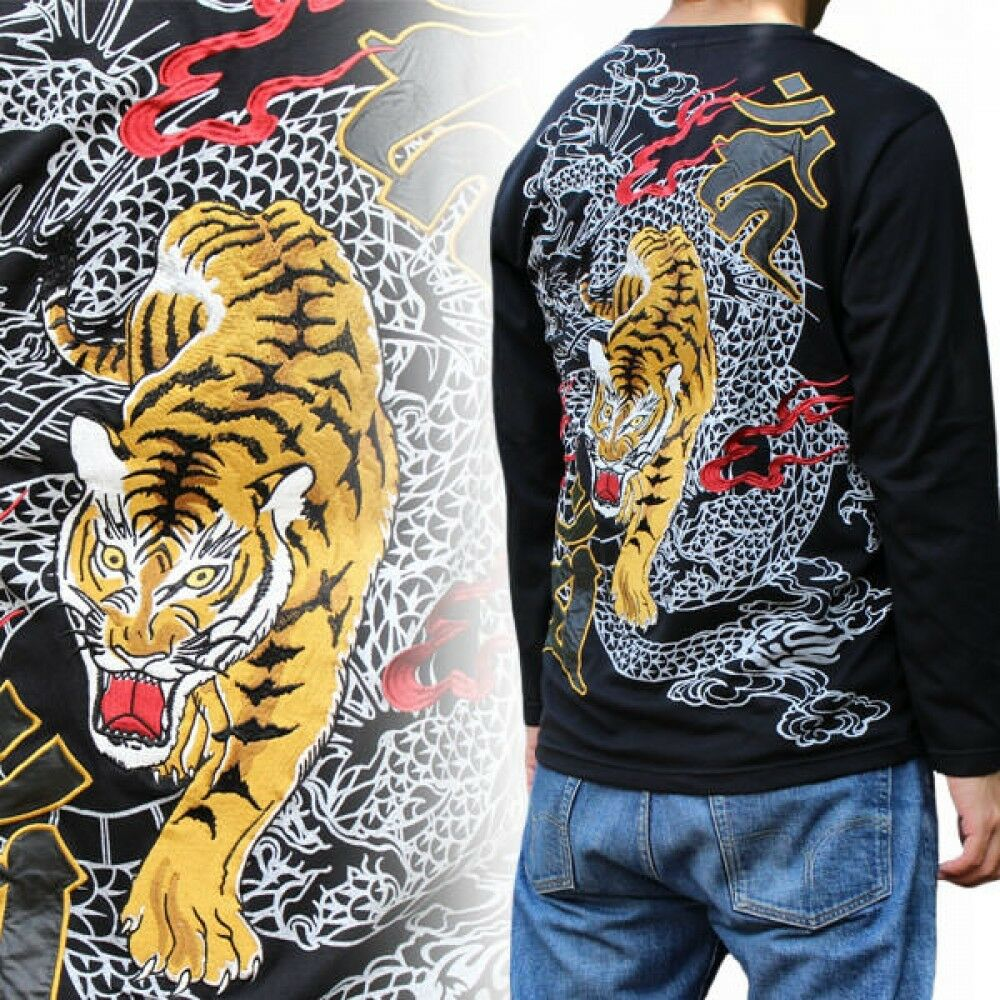 Japanese pattern embroidered long sleeved T-shirt tiger dragon embroidery F   S