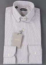 New Tom Ford Dress Shirt Collar Bar Gray Stripe Pattern Slim Fit Size 15.5 39