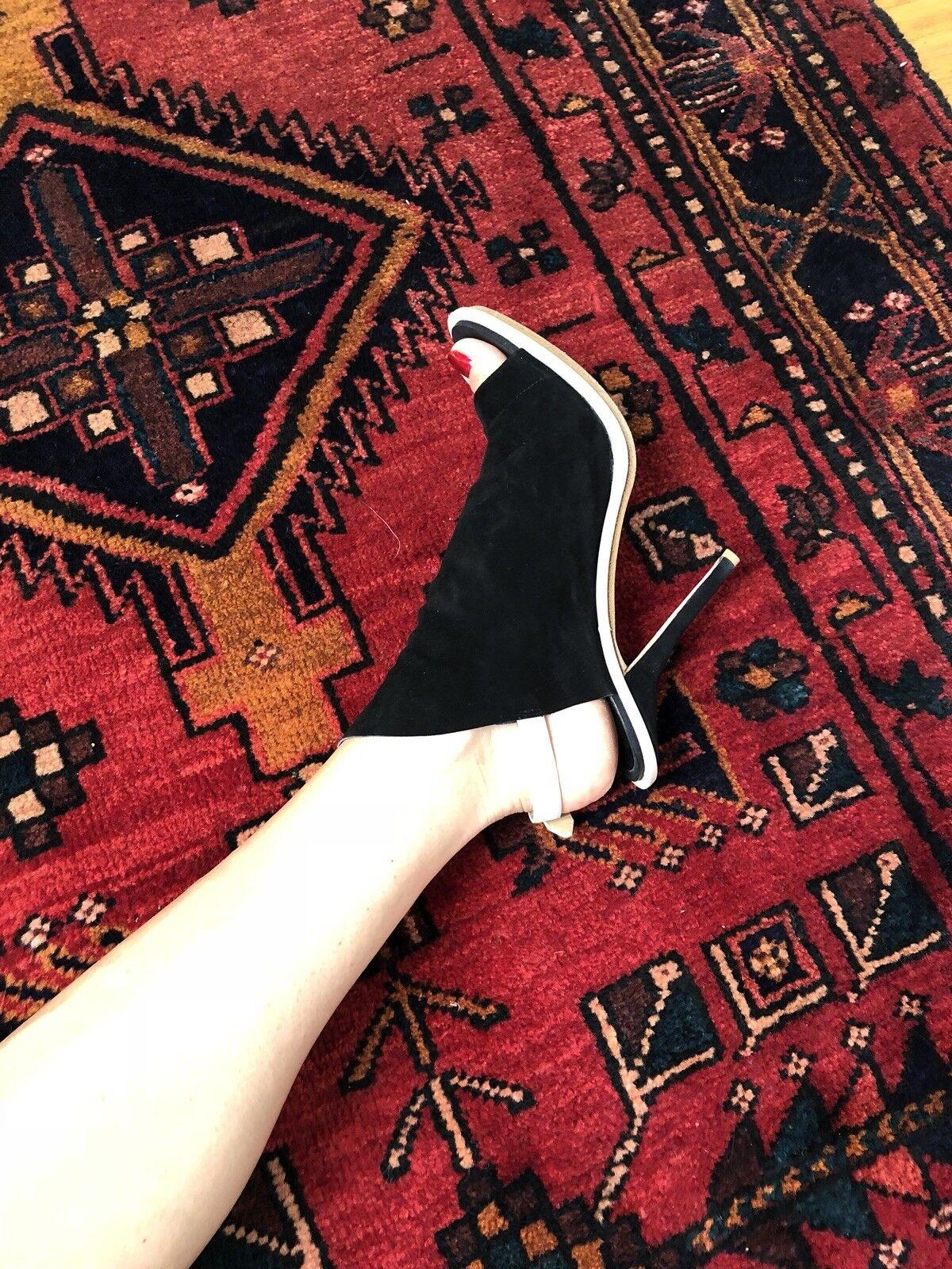 Balenciaga Peep Toe Gamuza Gamuza Gamuza Negra Marfil Sandalias de arranque de tuberías Zapatos De Taco Talla 11 b5f62d