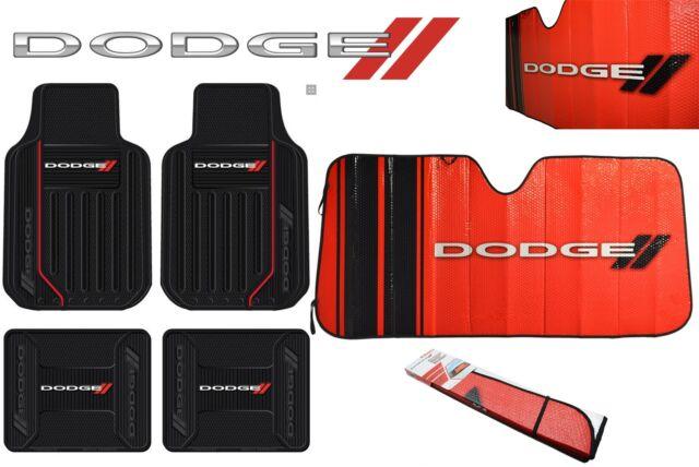 5 Pc Dodge Elite Front + Rear Rubber Floor Mats + Sun Shade Windshield Universal