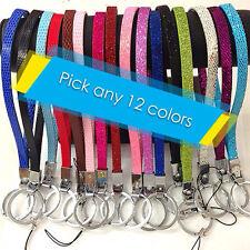 12 PC You choice any pu leather / glitter wristlets keychain fits DIY 8mm charms