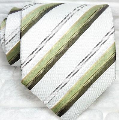 Cravatta Righe Uomo 100% Seta Made In Italy Bianca Verde Grigia Marrone Sapore Aromatico