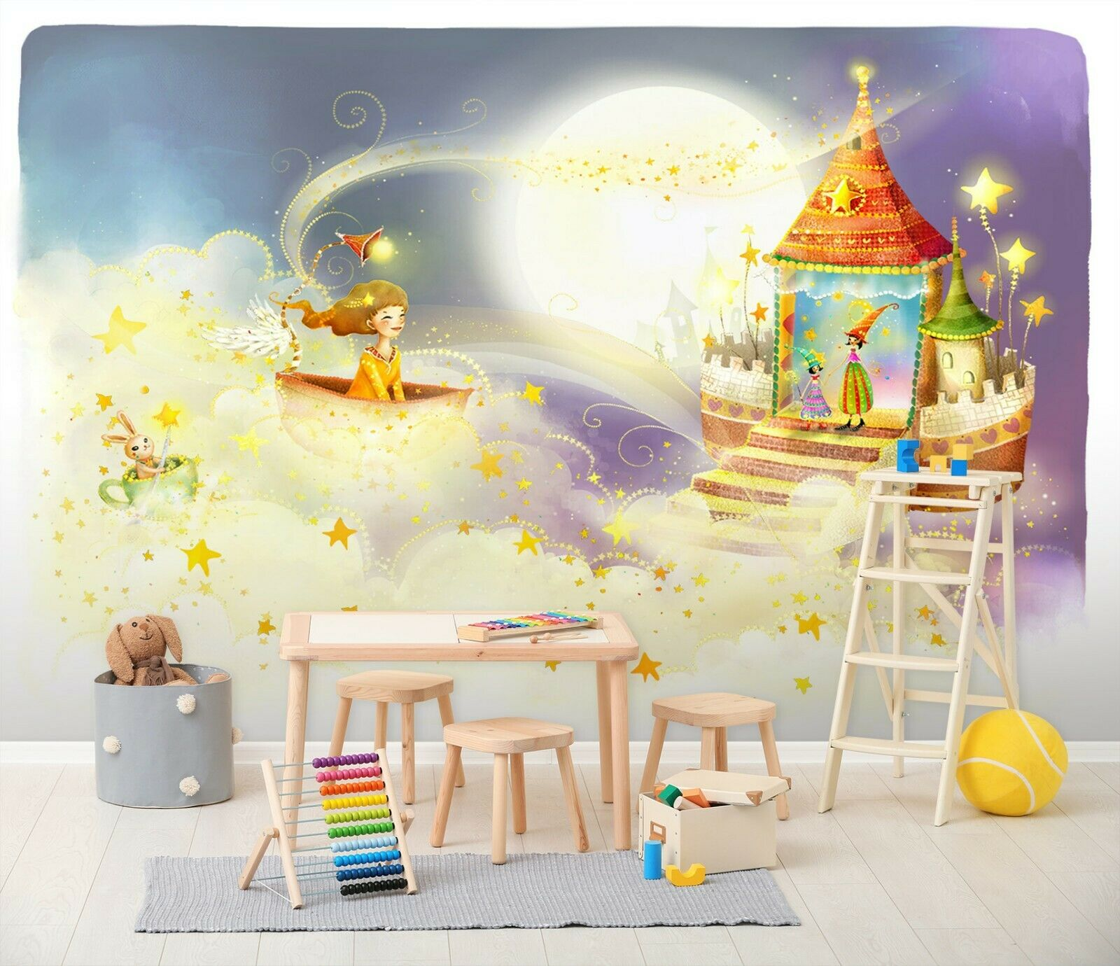 3D Moon Magic Mädchen R39 Business WandPapier Wand Mural Self-adhesive Commerce Zoe