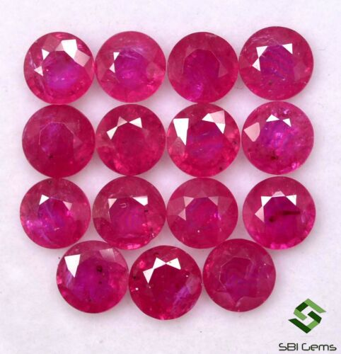 Natural Ruby Round Cut 5 mm Lot 05 Pcs Calibrated Faceted Loose Gemstones