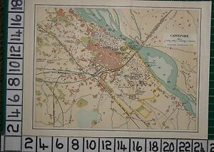 ANTIQUE INDIA MAP ~ CAWNPORE CITY PLAN GARDENS PARKS STATIONS CANTONMENT FACTORY