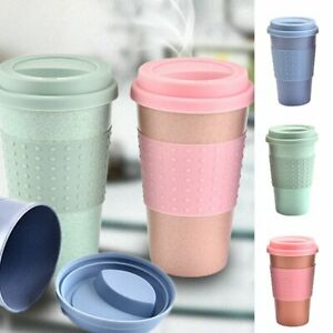 Non-toxic-Travel-Mug-Coffee-Tea-Water-Bottle-Cups-Straw-Wheat-Plastic-Cup-NEW
