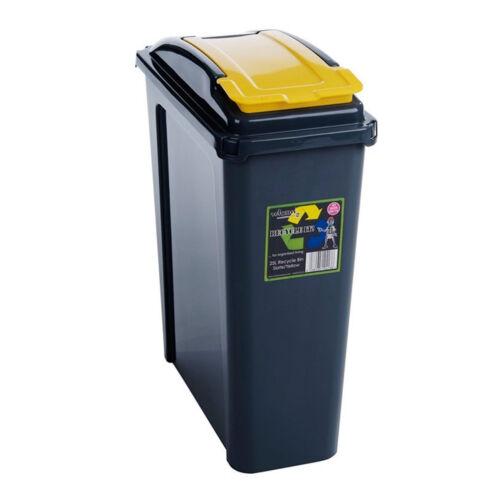 25L Slim Bin Plastic Recycle Recycling Bin Lid Kitchen Rubbish Dustbin Yellow