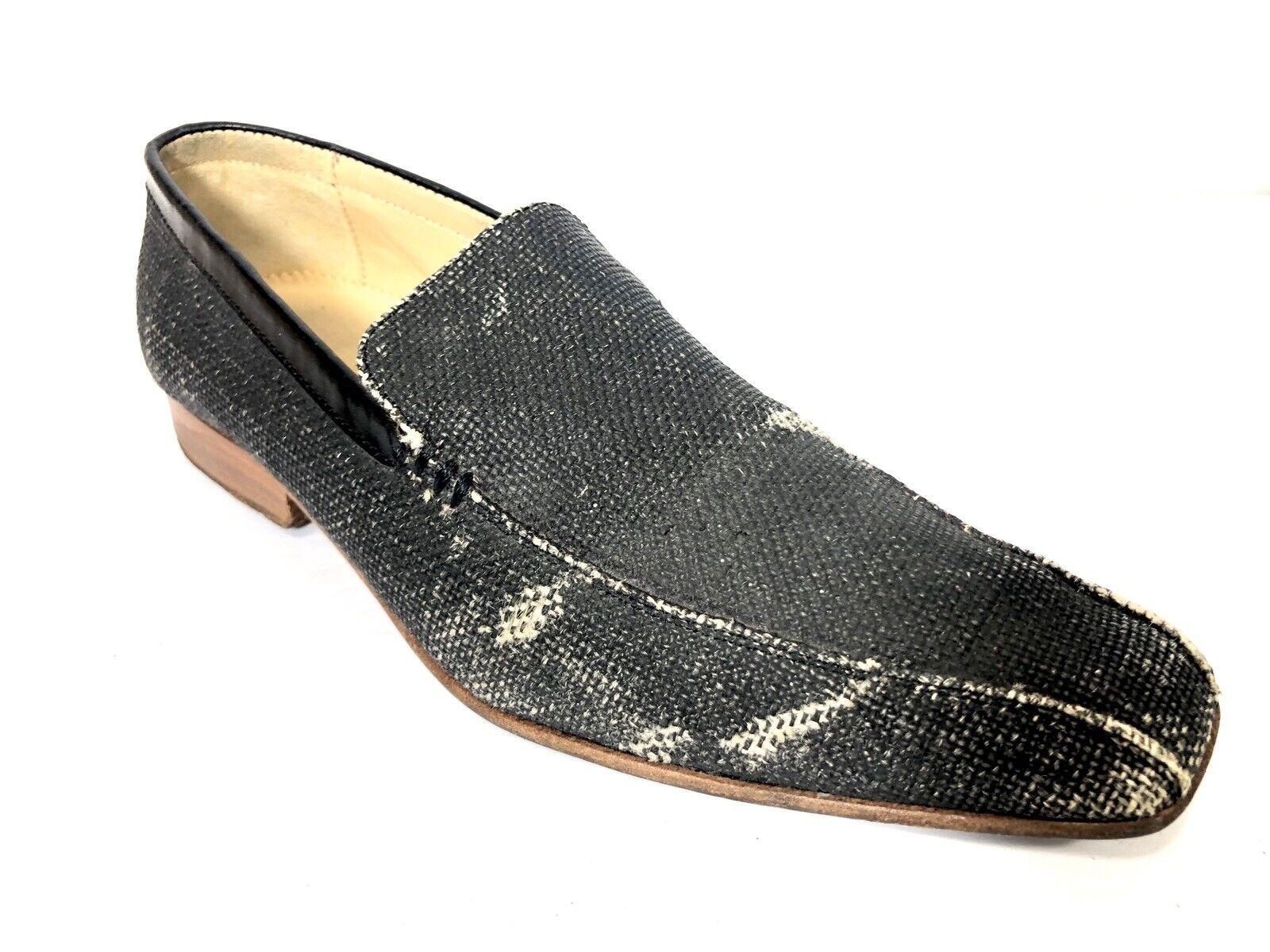 Kenzo Mens 7 Loafers Slip On Canvas Distressed Black Wooden Heel