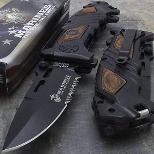 "LICENSED 8.25"" MTECH USA MARINES SPRING ASSISTED TACTICAL FOLDING POCKET KNIFE"