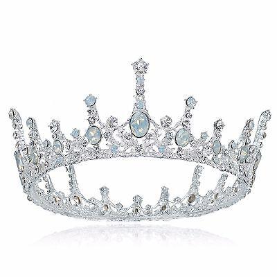TQG68 Clear Rhinestone White Simulate Opal Princess Vintage Crown Party Prom