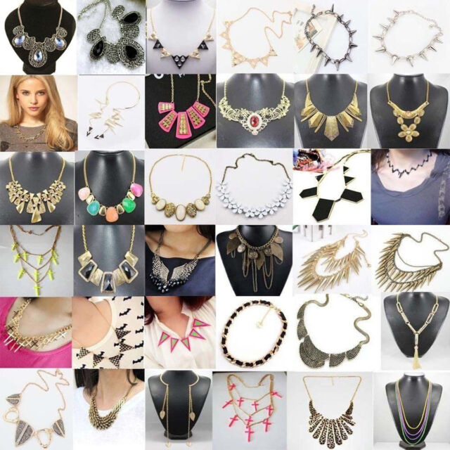 Vintage Crystal Chunky Statement Bib Pendant Chain Choker Necklace Jewelry Gifts