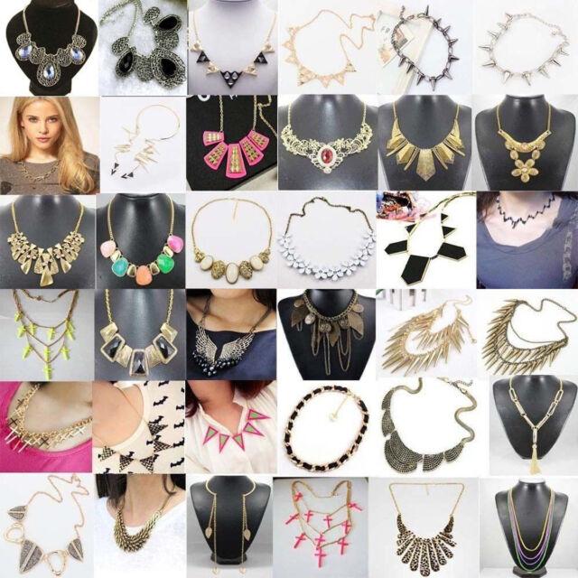 Vintage Crystal Chunky Statement Bib Pendant Chain Choker Necklace Jewelry Gifts