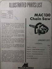 Mcculloch Chain Saw Mac 130 Parts Catalog Manual 2 Cycle Gasoline Chainsaw 1977