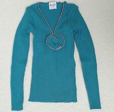 Vintage ladies top UNUSED stretchy knit ribbed pullover 1960s 1970s teenage TEAL
