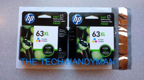 RETAIL BOX for OFFICEJET 3830 3831 3833 2-PACK HP GENUINE 63XL Tri-Color Ink