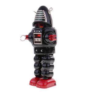 Vintage-Wind-Up-Metal-Walking-Planet-Robot-Clockwork-Mechanical-Tinplate-Toy