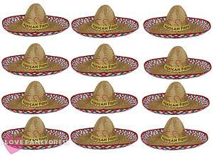 c2f7f063d85d PACK OF 12 MEXICAN FIESTA SOMBRERO HAT WILD WEST FANCY DRESS COSTUME ...