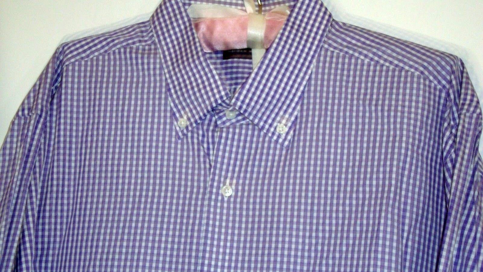 NEIMAN MARCUS MEN'S CASUAL DRESS SHIRT-SIZE 2XL-PURPLE STRIPE-NWOT-FREE SHIPPING