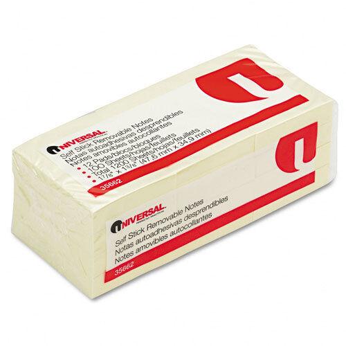 1-1//2 x 2 Yellow 12 100-Sheet Pad//Pack Universal Standard Self-Stick Notes