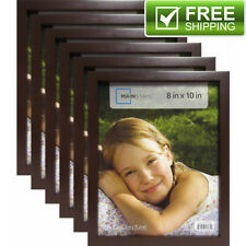"""Set of 6 Brown Picture Frames Home Decor Mainstays 8"""" x 10"""" Black Linear Frame"""