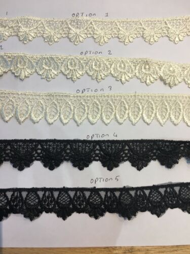 1 inch Guipure Lace Trim Cream /& Black 4 Meters £2.99 Free PP Beautiful qaulity.