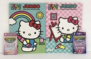 4pc-Hello-Kitty-Jumbo-Coloring-amp-Activity-Books-Glitter-and-Pearl-Crayons-New