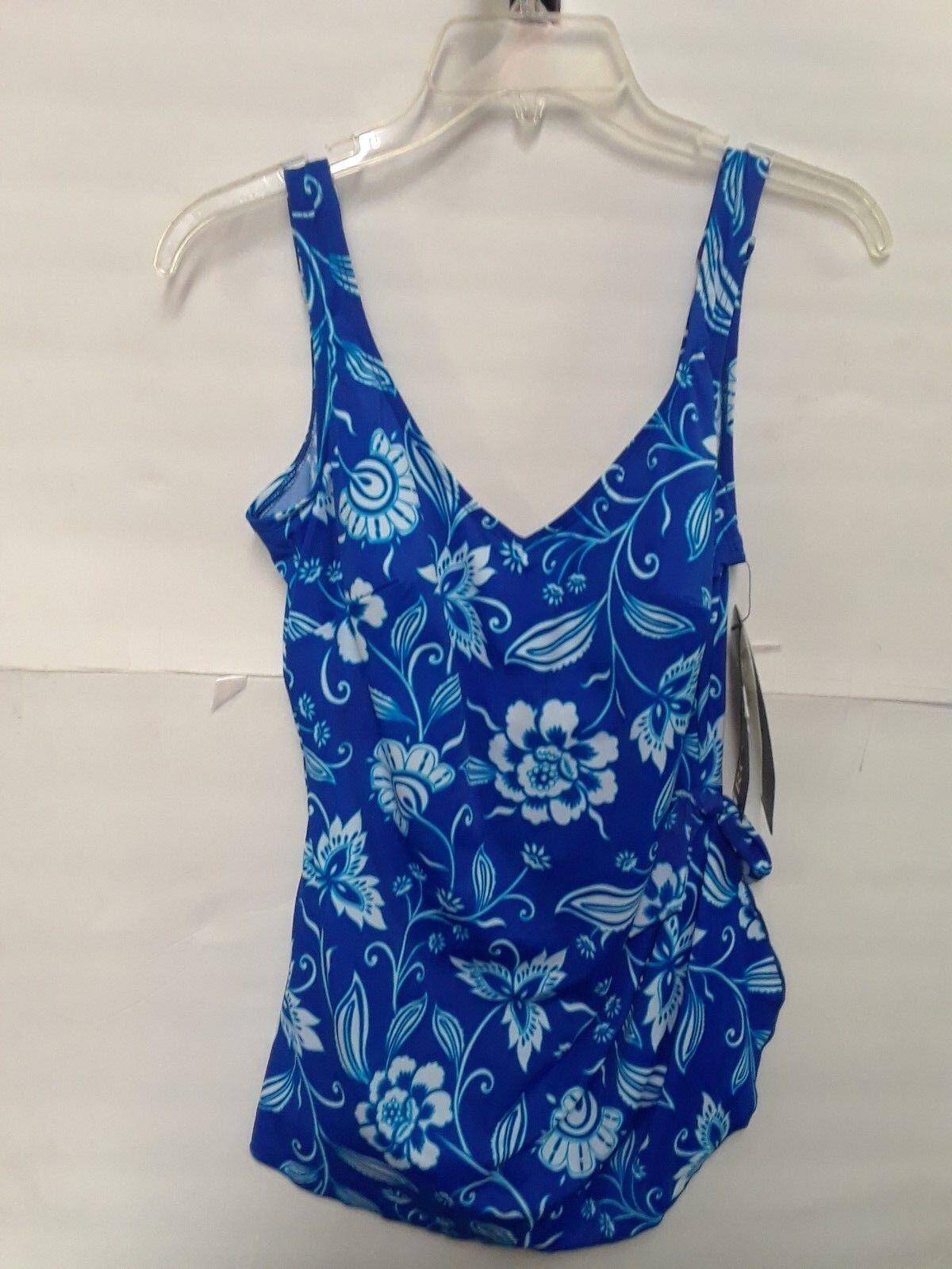 New Roxanne plus size swim wear size 14 cup 38D bluee pattern BNWT