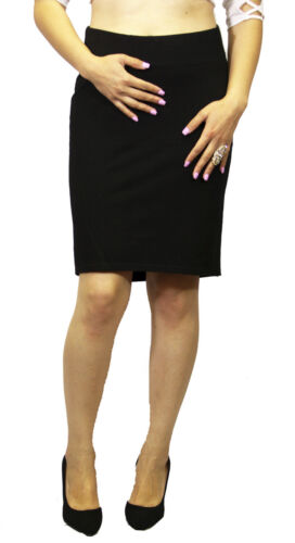 Black Maternity Fitted Pencil sport Maternity Soft Causal Skirt UnderBelly