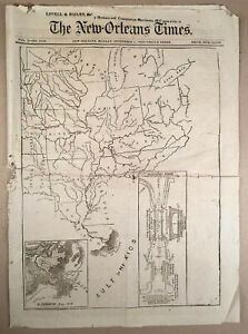 Rare-1873-NEW-ORLEANS-TIMES-with-Map-Proposed-FORT-ST-PHILIP-CANAL-LA-Louisiana