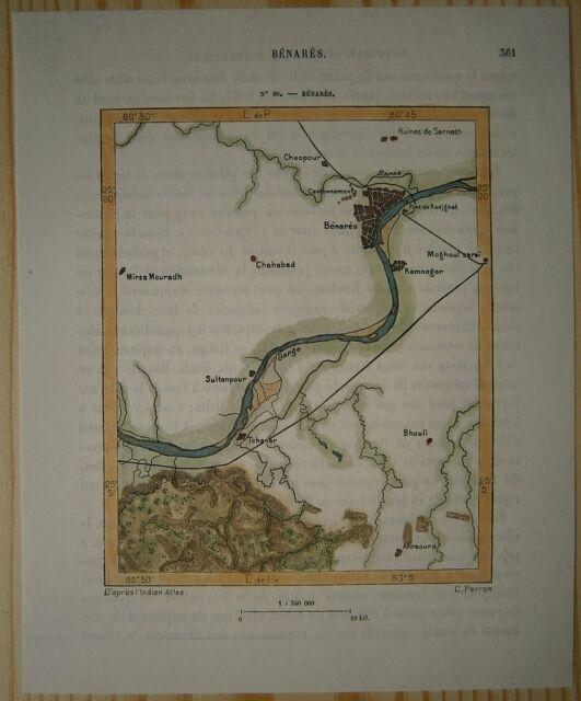 1883 Perron map VARANASI BENARES, UTTAR PRADESH, INDIA (#80)