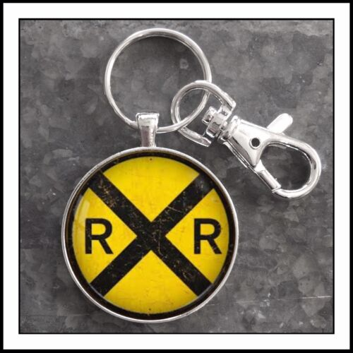 Vintage Railroad Train Crossing Sign photo keychain model Railroad gift