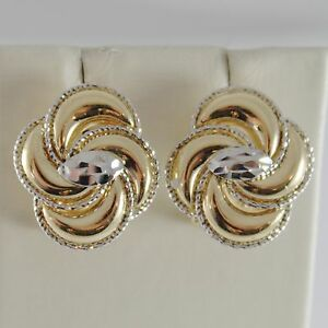 MADE IN ITALY WITH HAMMERED FLOWERS SOLID 18K WHITE GOLD EARRINGS