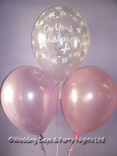 Boys /Girls Christening Helium Balloons Ribbon Weights 10 Tables Decoration Kit