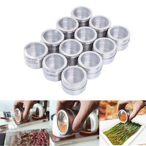 12pcs-Magnetic-Spice-Tins-Stainless-Steel-Storage-Container-Jars-Clear-Lid-6-5cm