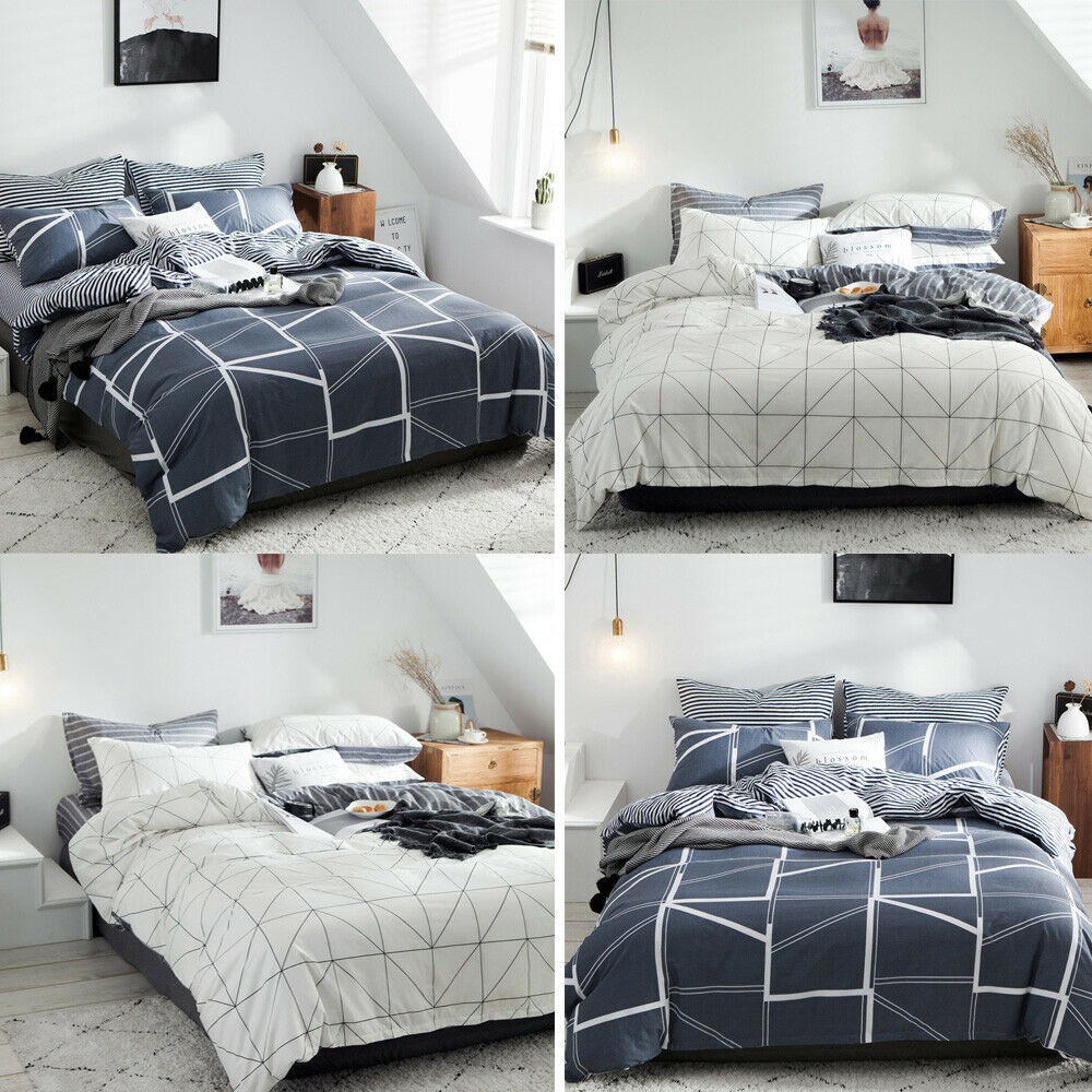 Simple Plaid Bedding Set For Cotton Super Quilt Duvet Set Twin Full Queen King