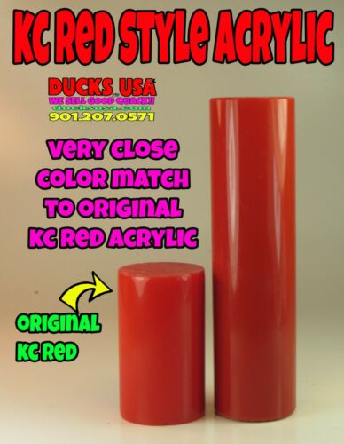 """Duck Call Acrylic Insert Blank KC RED Style 4/"""" x 1.125/"""" OD Solid Turning Blank"""