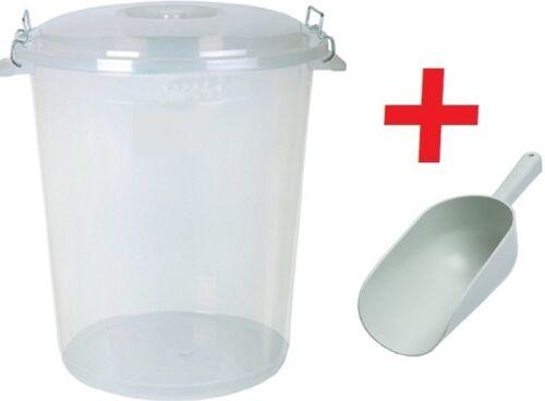 Large 70L Litre CLEAR Plastic Bin Pet Food Animal Feed Bird Seed Storage SCOOP