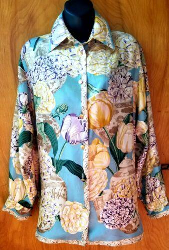 Vintage Gucci Blouse Silk Twill Aqua Blue Lush Fl… - image 1