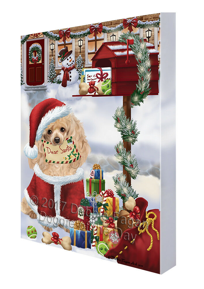 Poodles Dear Santa Letter Christmas Holiday Mailbox Dog Canvas Wall Art