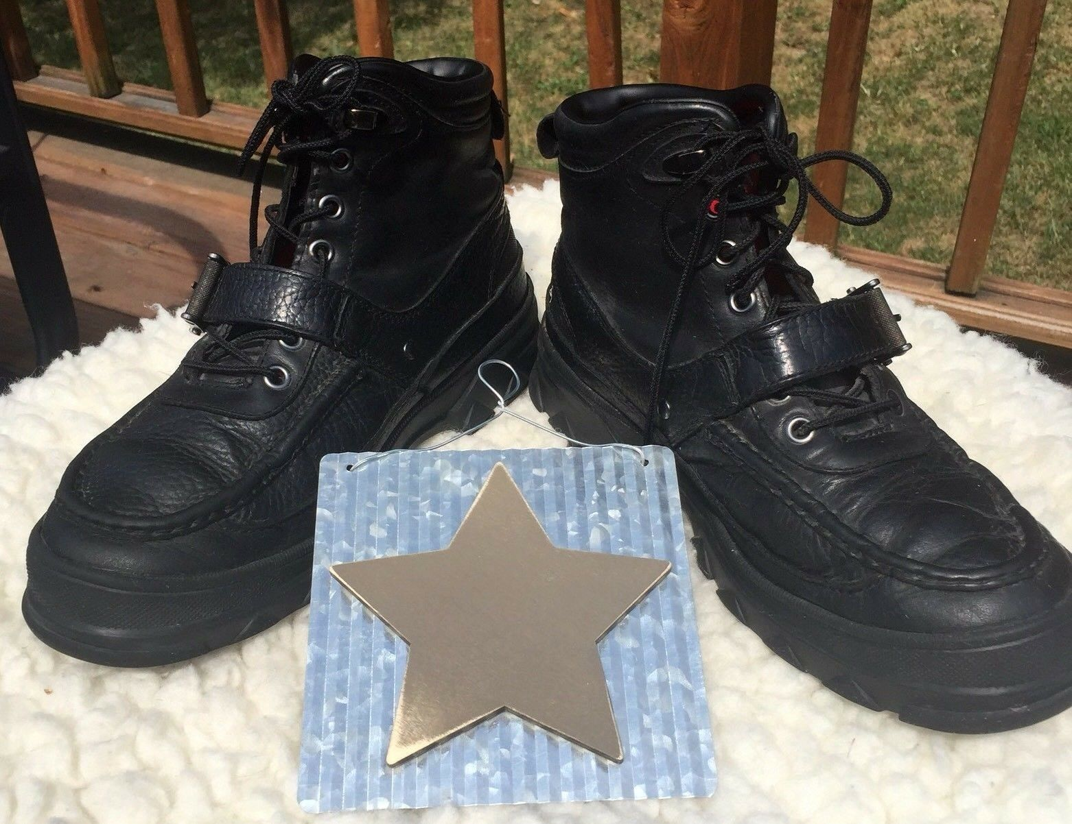 Polo Ralph Lauren Heworth Leather Men's Boots Sz 9D High Top Lace Up