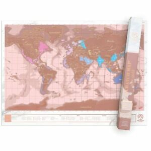 Gold World Map Poster.Luckies Scratch Map Rose Gold Edition World Map Poster A1