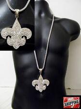 Silver Flower Fleur De Lis Chunky Pendant Necklace Franco Chain Hip Hop Iced Out