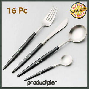 Flatware-Black-Matte-Stainless-Flatware-Luxury-16-Pieces-18-10-Stainless-Steel