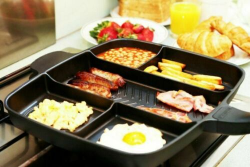 56cm Non-Stick Frying Pan Grill BBQ Skillet Reversible Griddle Plate Pan 5 in 1