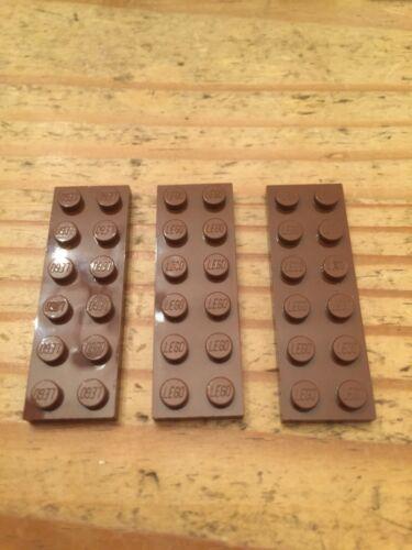 LEGO 2 X 6 plaque de base x 3 3795 Marron